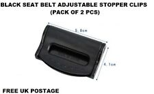 2Pcs BLACK CAR Seat Belts Safety Adjustable Stopper Buckle Plastic Clips