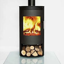 BLACK Jupiter CURVED Contemporary Modern Woodburning Stove Stoves Multi fuel