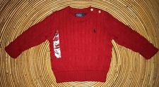 NEW POLO by RALPH LAUREN CLASSIC CABLE KNIT RED SWEATER BABY BOYS 18 MONTHS