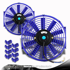 """2x Blue 12"""" High Performance Electric Cooling Pull Slim Radiator Fan For Toyota"""