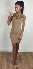 UK Womens Choker High Neck Bodycon Ladies Caged Sleeves Mini Dress Size 6-18