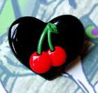 CHERRIES BLACK HEART BROOCH PIN ROCKABILLY BURLESQUE CHERRY