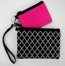 r 2 PINK BLACK CHEVRON Neoprene WRISTLET BAG phone coin purse camera TRAVEL nwt