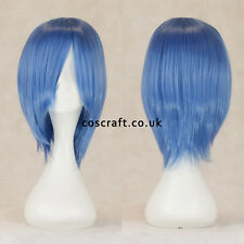 Breve Medium Dritta Layered Cosplay Parrucca in blu cobalto, UK Venditore, lo stile Lily
