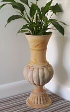 Tall Large Natural Solid Mahogany Wood Traditional Urn Carved Floor Vase NEW