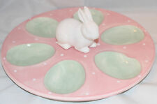 Easter Bunny Rabbit 6 Deviled Egg Serving Tray NEW Pink Green Decorated Display