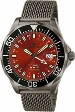 Invicta Men's 6361 Pro Diver Red Dial GMT Black IP Mesh Stainless Steel Watch