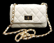 White Made in Italy GENUINE LEATHER Quilted Shoulder bag Cross Body !