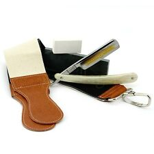 5X Men Gift Shave Set Gold Dollar Razor Leather Strop Polishing Paste Whetstone