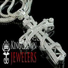 White Gold Finish Real Lab Diamond Jesus Cross Pendant Franco Chain Necklace