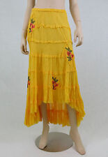 NWT SOLITAIRE Tiered BOHO Skirt Hi-Low Hem Raw Edges Embroidered Yellow M