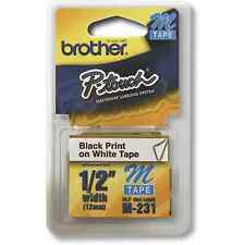 Brother M231 M 12mm 1/2 half inch black on white tape PT55 PT65 PT70 PT80 PT85