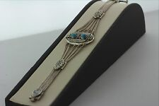 "Antique Handmade Filigree 800 Silver Niello Bracelet with Turquoise- 7.5""- 22.4g"