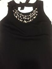 Rebecca Taylor Knit LBD With Beadwork And Grosgrain 6 Adorable