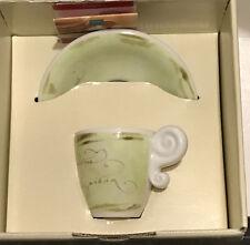 Thun Caffe Al Volo Cappuccino Expresso Cup And Saucer Green P091M23