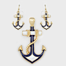 Anchor Pendant Earrings Beach Nautical Sealife GOLD BLUE WHITE Sailor Jewelry