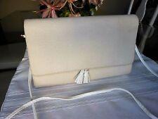 Vintage KORET Ivory Canvas & Plastic Evening Purse Crossbody Shoulder Bag - USA