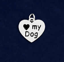 Sterling Silver Plated I Heart My Dog Paw Print 3D Charm 100% OF SALE FOR RESCUE