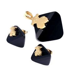 Bear Black Crystal Stone Gold Jewelry Set Earring Pendant For Women Ship To US