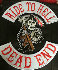 Ride To Hell Dead End Reaper back Patch Set sin sotana mc motero Harley Chopper