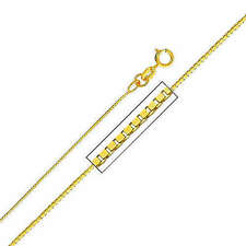 """14K Solid Yellow Gold Light Box Chain Necklace 0.35mm 20"""""""