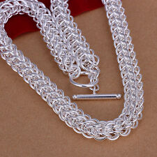 Free Shipping Sterling Solid Silver Fashion Heavy Chain Necklace N139