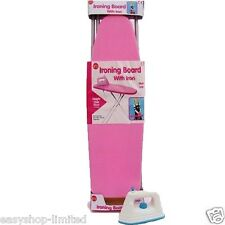 GIRLS 50CM PINK IRONING BOARD W/WHITE IRON METAL LEGS KIDS PLAY TOY XMAS GIFT
