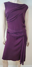 DVF DIANE VON FURSTENBERG scarlet rouge bordeaux soie stretch drapé robe 8 UK12