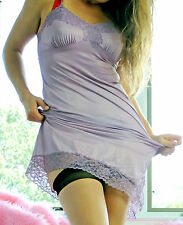 VTG Vanity Fair Hand-Dyed Lilac Exotic Lace All Nylon Full Slip Dress sz 34
