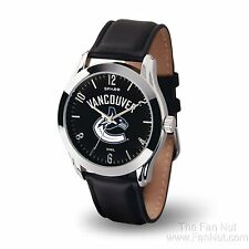 Vancouver Canucks CLASSIC Watch Team Color Logo Black Leather Band NHL Hockey