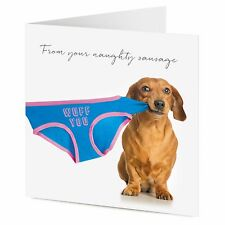 FROM YOUR NAUGHTY SAUSAGE Dachshund dog pulls underwear Birthday, Valentine card