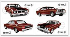 New! Collectable FORD FALCON XY GT HO 351 -  4 MEDIUM STICKER - Vintage-Burgundy