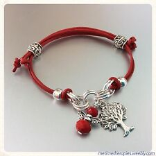Red Leather Base Chakra Grounding Bracelet - Silver Tree Charm & Crystal Angel