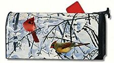 "Winter Morning Cardinals MAGNETIC MAILBOX COVER 1"" NUMBERS Made in USA"