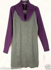 NY COLLECTION Sweater Dress Cowl Neck LS Gray Purple  Size XS   NWT  $60