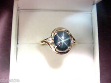 DEEP BLUE GENUINE STAR SAPPHIRE 2.98 CTS and  DIAMONDS 14K GOLD RING