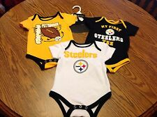 NWT Pittsburgh Steelers Baby 3 - One Piece Outfit Set  Size 6-9 months