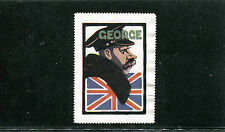 Vintage Poster Stamp Label WWI World Leaders KING GEORGE Great Britain #IM
