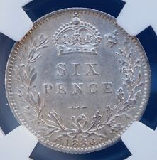 1888 UK Great Britain Sixpence NGC MS63 BU 6P Victoria Silver Coin