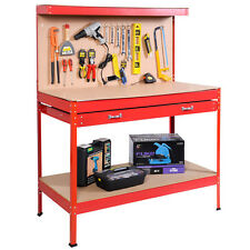 Red Work Bench Tool Storage Steel Tool Workshop Table W/ Drawers and Peg Board