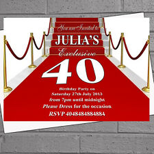 Personalised Red Carpet Glam VIP Birthday Party Invitations x 12 +envs H0668