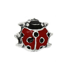 AUTHENTIC STERLING SILVER  ZABLE ENAMELED LADYBUG EUROPEAN BEAD