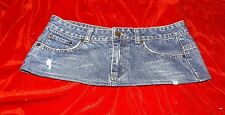 6 3/4 Inch Length  VERY SHORT  Distressed Denim Mini Skirt  Size 10 - 12