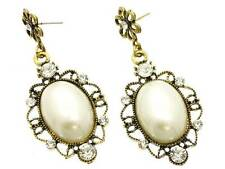 VICTORIAN STYLE CREAM OVAL FAUX PEARL STUD ANTIQUE LOOK GOLD TONE DANGLE EARRING