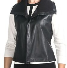 August Silk - M - NWT $68 -Black Faux Leather & Ribbed Knit Collar Vest Jacket