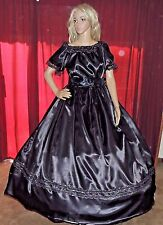 CIVIL WAR PIONEER DICKENS SASS LARP MOURNING Black Satin Costume Dress Gown