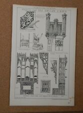 Antique Architects print Organs and Old organ Cases Building News 1884