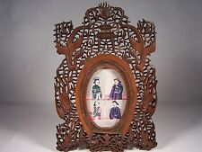 19C CHINESE CARVED SANDALWOOD PICTURE MIRROR FRAME W DRAGONS PHOENIX BATS FISH
