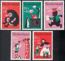 Netherlands 1967 Welfare Fund/Bear/Hedgehog/Giraffe/Kettle/Animation 5v (n28028)
