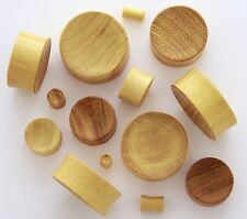 "1 Pair 7/8"" 22mm Yellow Jack Fruit Natural Organic Wood Ear Concave Plugs 897"
